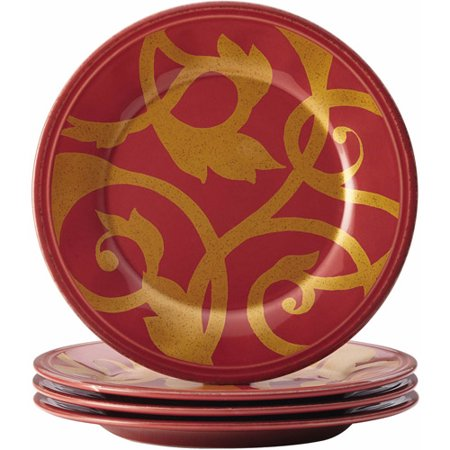 Rachael Ray Dinnerware Gold Scroll 4-Piece Round Appetizer Plate (Country Appetizer)