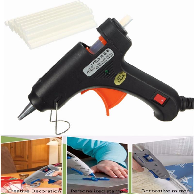 20W Electric Heating Hot Melt Glue Guns Professional Craft Repair Tool + Glue Sticks by