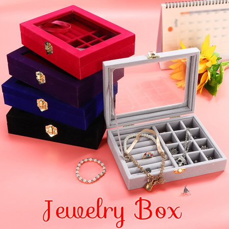 Portable 5 Colors Jewelry Box Storage Flannel Velvet Show Case Rings Earings Bracelet Necklace Glass Display Holder Tray Wood Organizer Travel Ornaments Cosmetic For Women &Girls (Ring Holder Ornament)