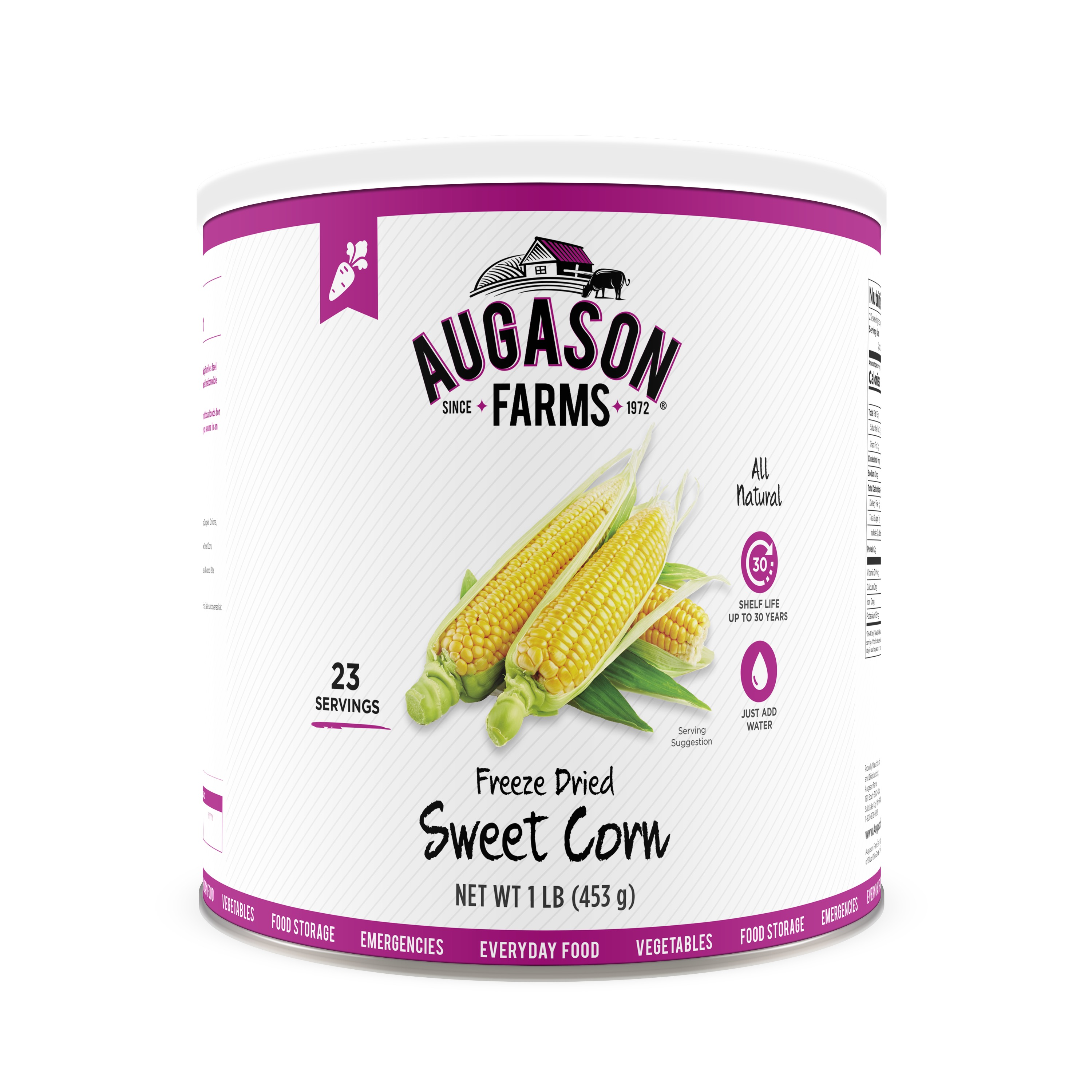 Augason Farms Freeze Dried Sweet Corn 1 lb No. 10 Can
