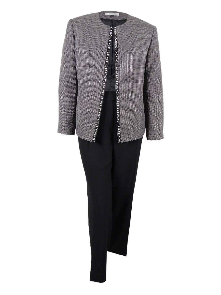 Tahari Women's Pearl Embellished Lined Pant Suit