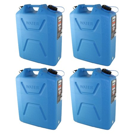 - Wavian 5 Gallon Plastic Water Jug Can Container with Easy Pour Spout (4 Pack)