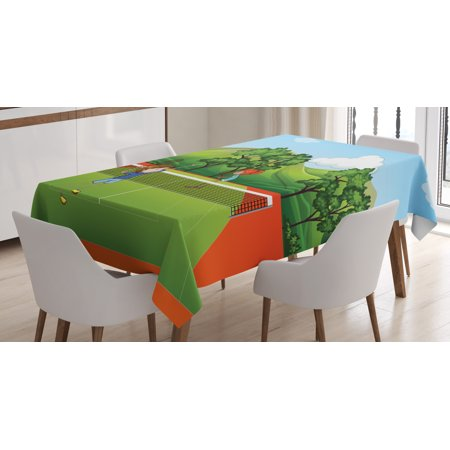 Kids Sports Tablecloth, Siblings Little Friends Playing Tennis Fun Time in Park Exercise with Buddies, Rectangular Table Cover for Dining Room Kitchen, 52 X 70 Inches, Multicolor, by