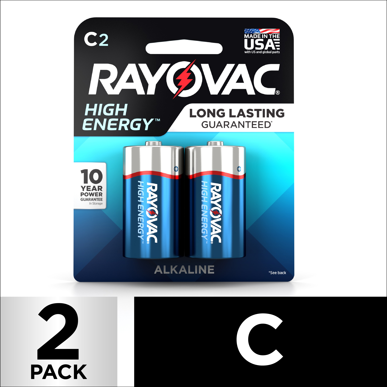 Rayovac High Energy Alkaline, C Batteries, 2 Count