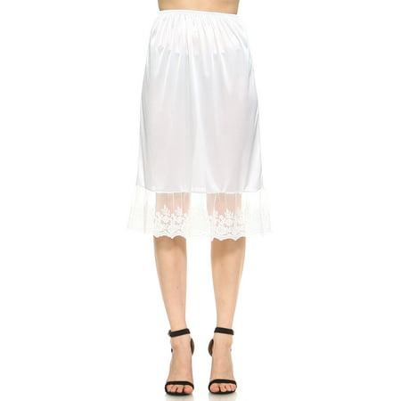 24bceb254c Melody - Women's long single lace satin underskirt skirt extender half slip  for lengthening - Walmart.com