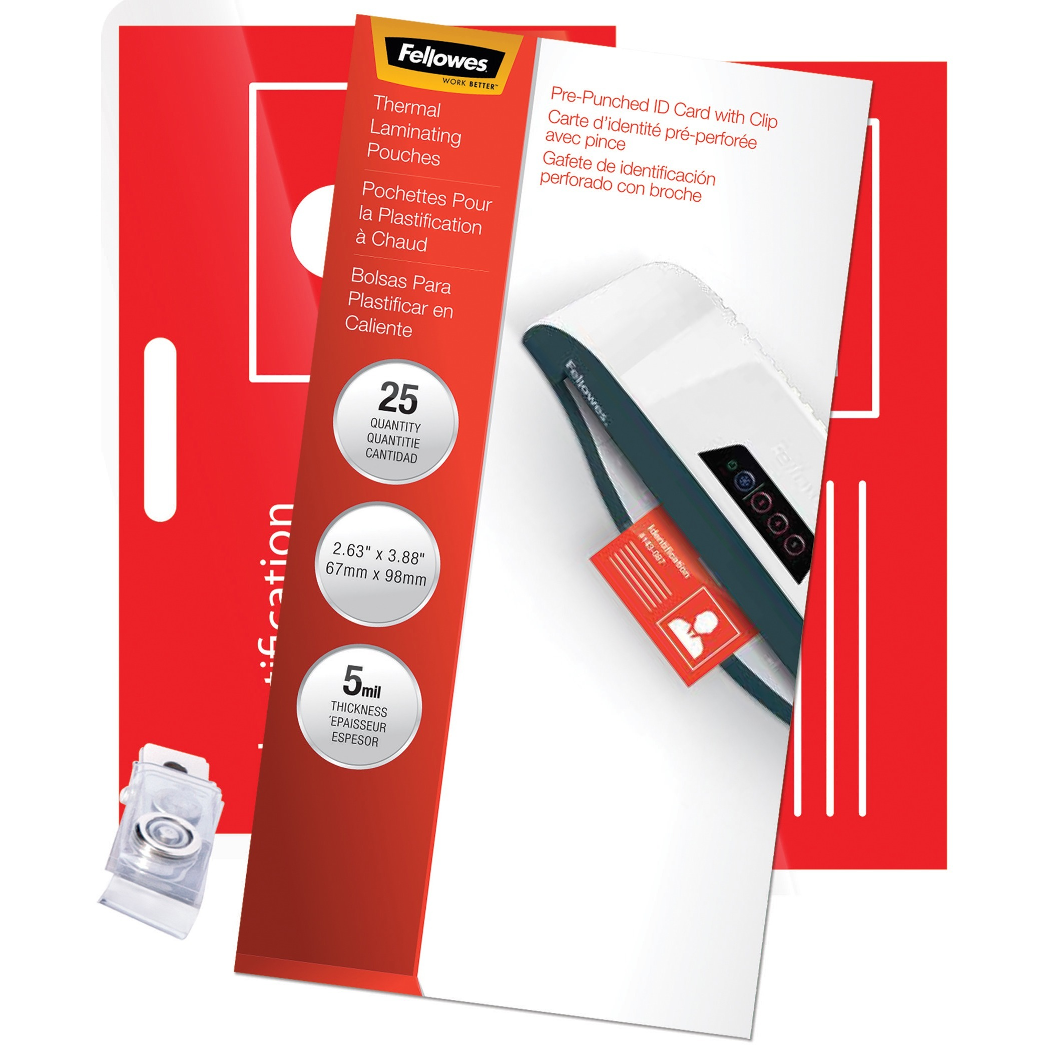 Fellowes, FEL52033, Pretrimmed Glossy ID Pouches, 25 / Pack, Clear