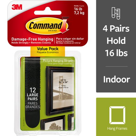 Command Large Picture Hanging Strips Value Pack, Black, 12/Pack Black Large Outdoor Hanging