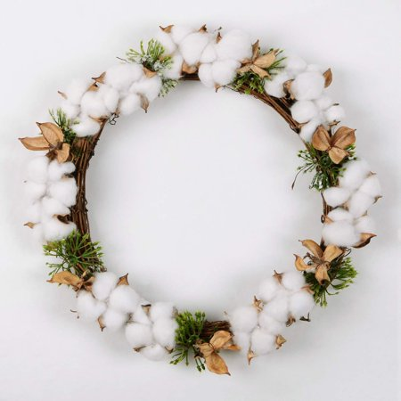 Coolmade Real Cotton Wreath, 13.5 Inch Decorative Wreath with Full and Empty Cotton Bolls for Front Door Farmhouse Wedding Centerpiece - Farm Centerpieces