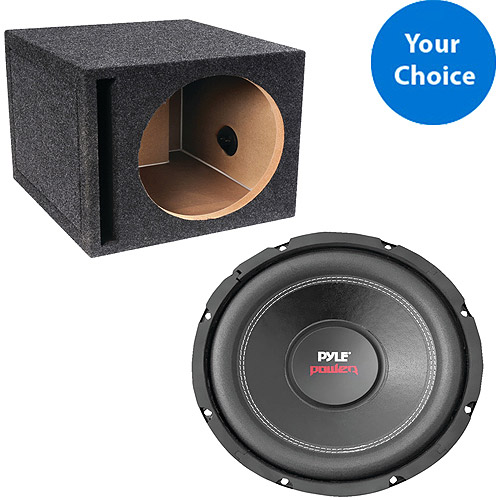 "Your Choice 12"" Subwoofer and 12"" Subwoofer Enclosure with Optional Speaker Wire"