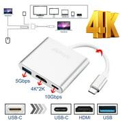AGPtek New Type C USB 3.1 to USB-C 4K HDMI USB 3.0 Adapter 3 in 1 Hub Adapter Converter For Macbook Pro ChromeBook Pixel
