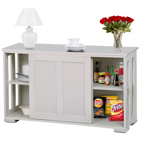 Stackable Sideboard Buffet Storage Cabinet With Sliding Door Kitchen Dining Room Furniture Antique White