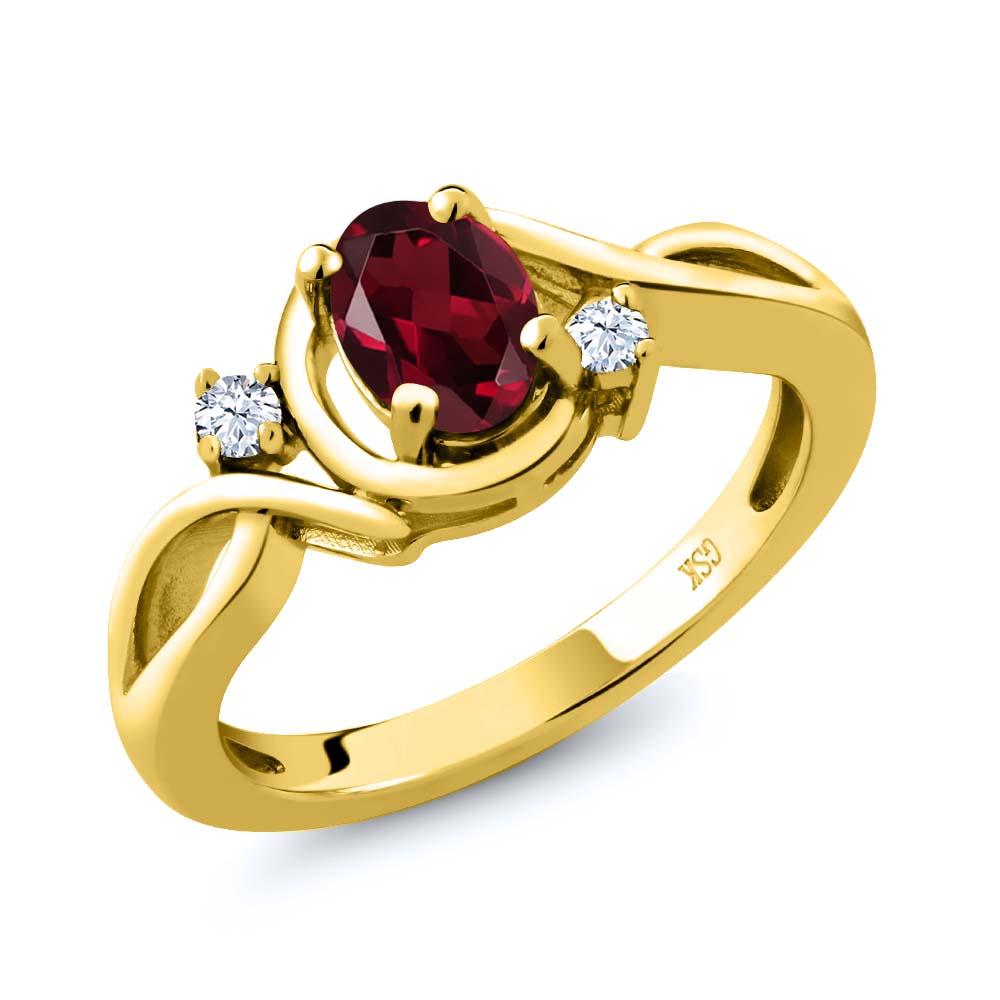 0.98 Ct Oval Red Rhodolite Garnet White Topaz 14K Yellow Gold Ring