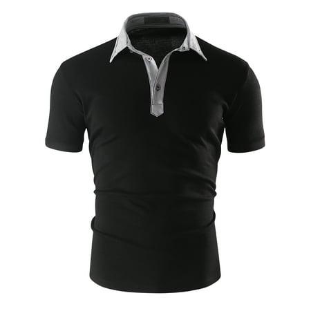 Doublju Mens Casual Slim Short Sleeve Polo T Shirt