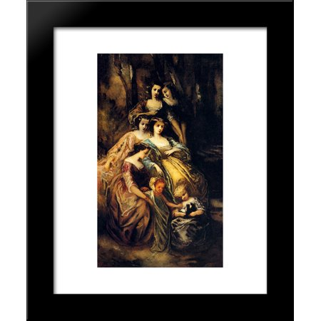 Empress Eugenie And Her Attendants 20x24 Framed Art Print by Monticelli, Adolphe Thomas