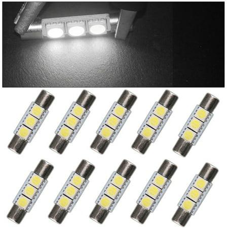 10X Festoon 29mm-31mm 5050 3SMD Fuse LED Car Vanity Mirror Light Bulb 6641 TS-14V1C US (White) (Led Festoon Lighting)