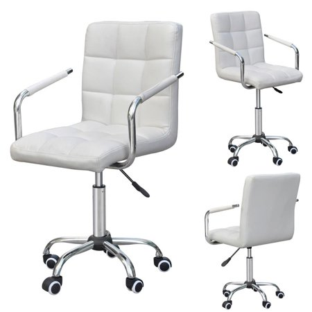Yaheetech Modern PU Leather Midback Swivel Arms Adjustable Executive Office Chair,
