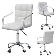 Yaheetech Modern PU Leather Midback Swivel Arms Adjustable Executive Office Chair, White