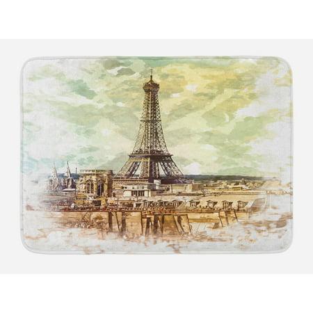 Parisian Themed Decor (Eiffel Tower Bath Mat, Pastel Watercolor Style Print Vintage Eiffel Tower Skyline Parisian Theme Art, Non-Slip Plush Mat Bathroom Kitchen Laundry Room Decor, 29.5 X 17.5 Inches, Brown Beige,)