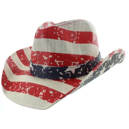 Milani Vintage Stars & Stripes American Flag Cowboy Hat (Striped Top Hat)