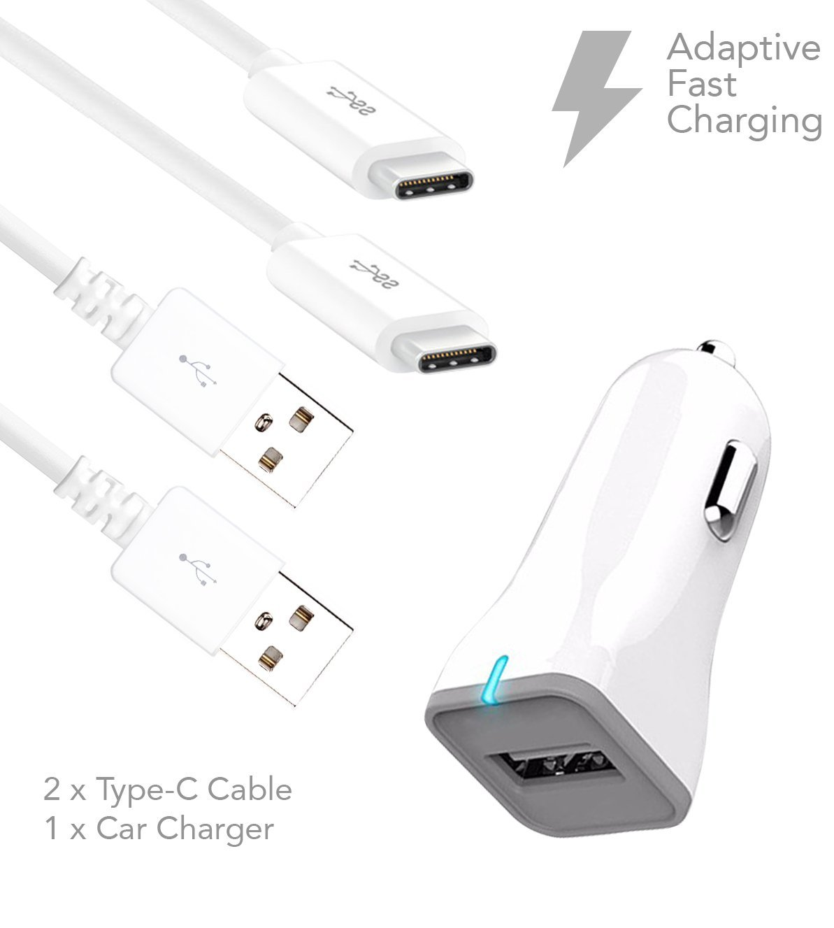 LG V20 Charger Fast Type-C USB 2.0 Cable Kit by Ixir - {Fast Car Charger + 2 Type-C Cable}