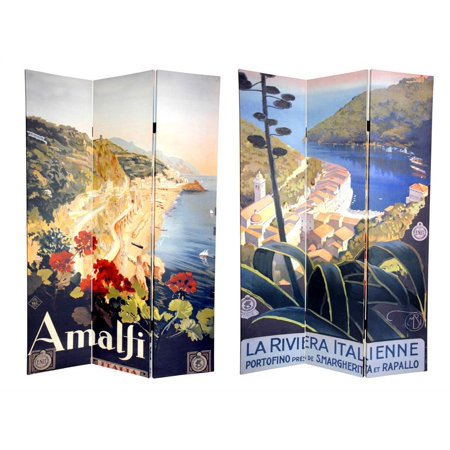 Reversible 6 Ft. Amalfi and Riviera Room Divider - 3 Panels