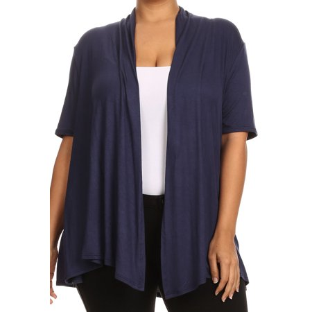 BNY Corner Women Plus Size Short Sleeve Cardigan Open Front Casual Cover Up Navy 1X 433 SD