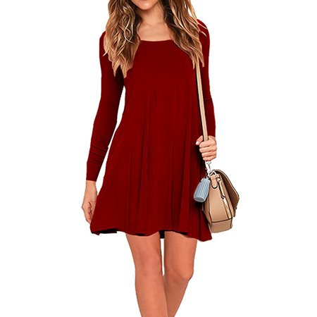 Topcobe Women Clothing Clearance, Scoop Neck Clearance Short Dress for Women, T2250RM Swing Hem Red Dress for Women on Sales, M-2XL(Asian Size, Red)