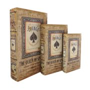 jeco inc queen of spades storage wood 3 piece decorative box set - Decorative Storage Box
