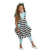 Kidcuteture Girls Black White Stripes Dora Designer Spring Dress 7