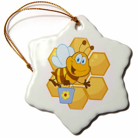 Happy Christmas Honey - 3dRose Cute Happy Honey Bee And Honeycomb - Snowflake Ornament, 3-inch