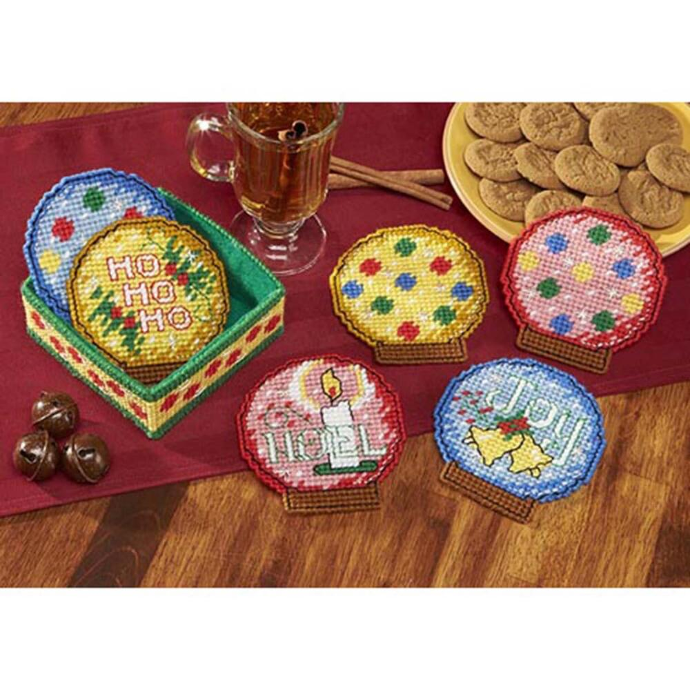 Herrschners® Holiday Snow Globes Coasters with Holder Plastic Canvas Kit