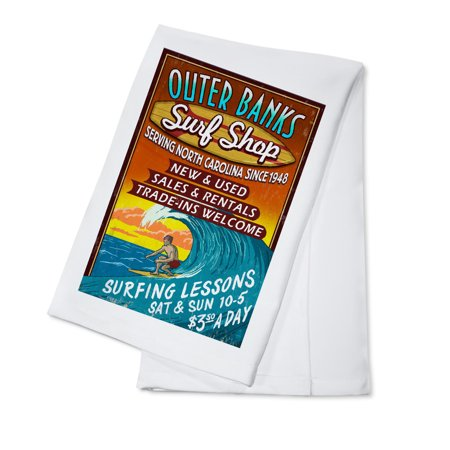 Outer Banks, North Carolina - Surf Shop Vintage Sign - Lantern Press Artwork (100% Cotton Kitchen