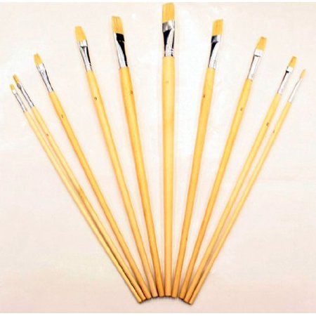 Zen Art Supply 10 Pc Artist Paint Brush Set All Purpose Oil Watercolor Acrylic - Artist Paint Brushes
