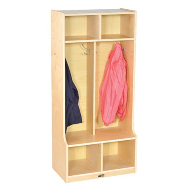 Early Childhood Resources ELR-17231 2-Section Birch Coat Locker with Bench by Early Childhood Resource