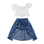 Baby Girl Kid Lace Off-Shoulder Shirt Blouse Top Short Pants Dress Party 3Pcs Clothes Outfit