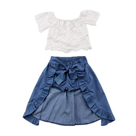 Baby Girl Kid Lace Off-Shoulder Shirt Blouse Top Short Pants Dress Party 3Pcs Clothes Outfit (Girls Clothing Online Boutique)