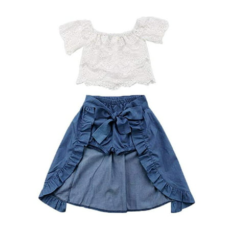 Party Outfit (Baby Girl Kid Lace Off-Shoulder Shirt Blouse Top Short Pants Dress Party 3Pcs Clothes Outfit )