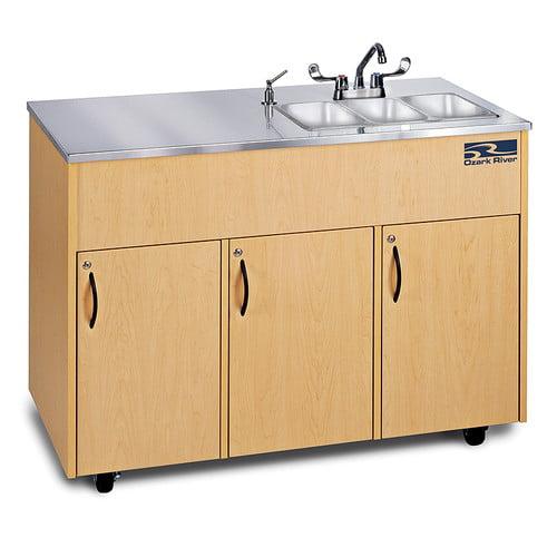Ozark River Portable Sinks Silver Advantage 48'' x 24'' Triple Bowl Portable Handwash Station with Storage Cabinet