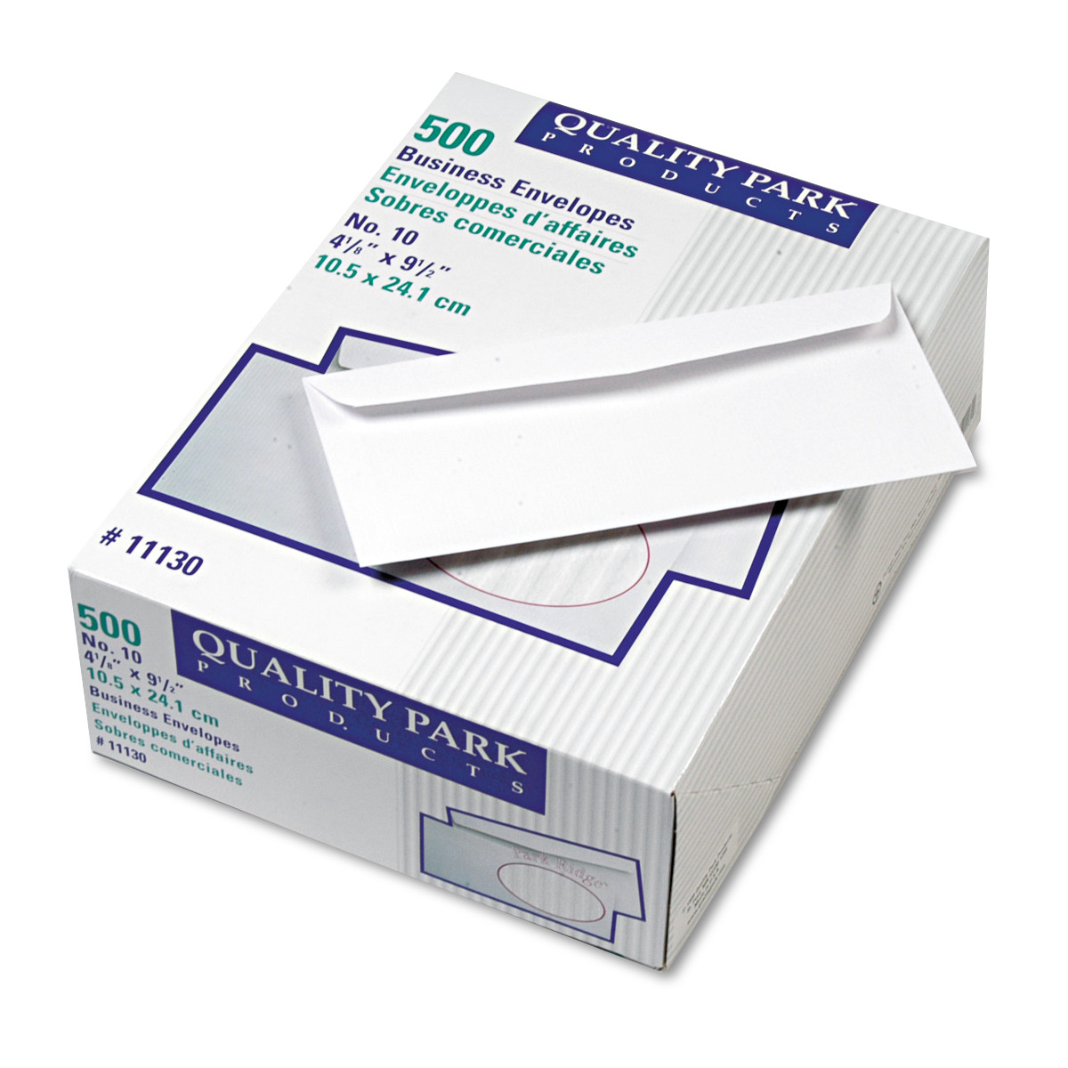 Quality Park Park Ridge Embossed Executive Envelope, #10, 4 1/8 x 9 1/2, White, 500/Box -QUA11130