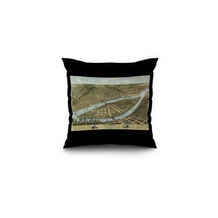 Wheeling  West Virginia   Panoramic Map  16X16 Spun Polyester Pillow  Black Border