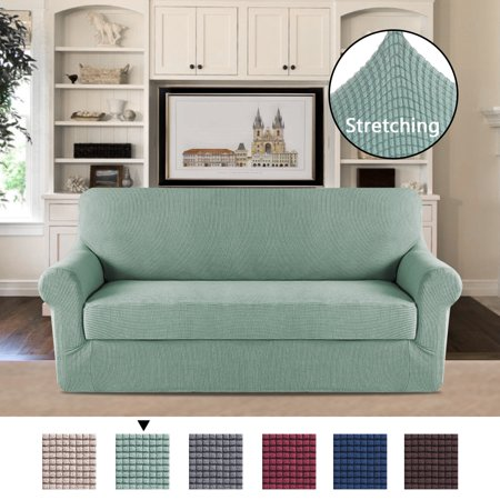 Elegant Luxury Furniture Stretch Protector 2 Separate Pieces Perfect Fit For Sofa Super Soft Machine Washable Cyan Color