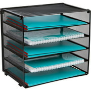 Desk Organizer Tray - Letter Tray in Black Metal Mesh for Organizing Files, Papers, Bills, Folders, Letters, Binders, and More. Desktop Paper Tray Rack for Home, Office, or School (5 Tier)