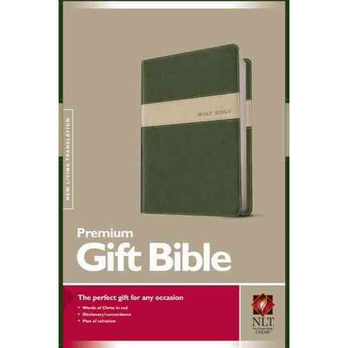 Holy Bible: New Living Translation, Evergreen / Stone, Tutone Leatherlike Premium Award Edition