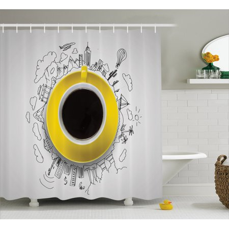 Coffee Shower Curtain Sketch Scenes From Towns Beach And Mountains Hot Air Balloon Caffeine