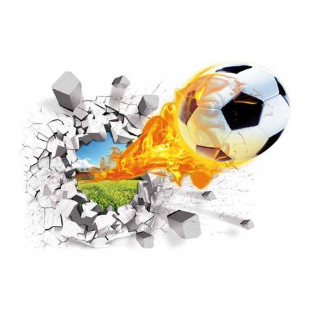 3D Football Break Removable Wall Sticker Tattoo Kids Nursery Baby Room Soccer Decals Home Decorative