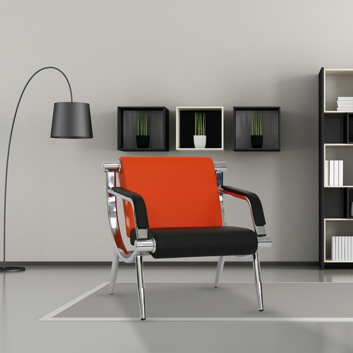 Kinbor Furniture Orange Leather Executive Side Reception Chair Office Waiting Room Guest Reception