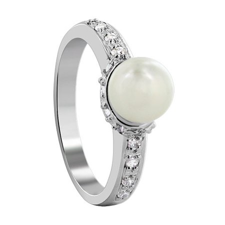 Gem Avenue 925 Sterling Silver Round White Freshwater Pearl Ring Size