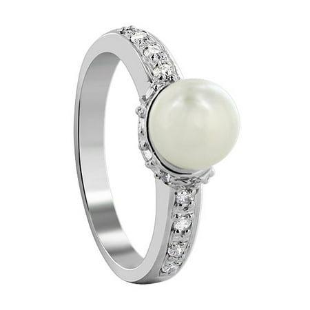 7mm White Freshwater Pearl Ring (Gem Avenue 925 Sterling Silver Round White Freshwater Pearl Ring Size 6.5)