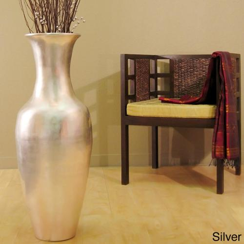 Lacquer 36-inch Tall Vase with Branches Silver