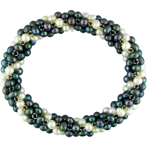 4-5mm Multi-row Black and White Cultured Freshwater Potato Pearl Elastic Bracelet